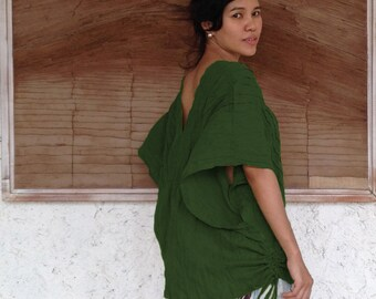 Loose Fit V neck Cotton Blouse in Dark Forest Green, Boho Wide Kimono Sleeve Top, Women Casual Beach Cotton Blouse, Karen TOP008