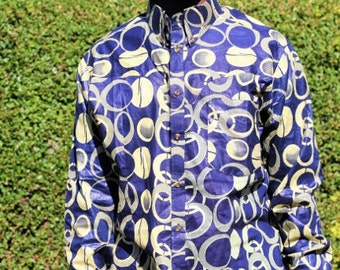 Jaali Blue Long Sleeved African Print Shirt