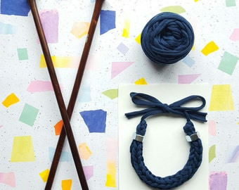 The Bolt Collection:  Blue Knitted Necklace