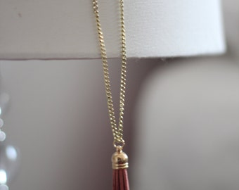 Pink Tassel Necklace with Gold Chain, Statement Necklace, Long Necklace