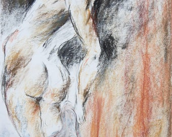 Original pastel drawing, naked woman, nude drawing, sketch of E. DELACROIX