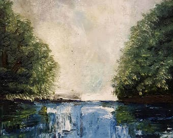 """Oil Painting, """"Come to the edge, HE said"""" 9""""x9"""""""