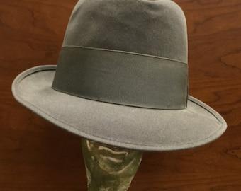 Vintage Gray Fedora/Derby Hat - Original L. Strauss & Co. Indianapolis - Size 7 1/8