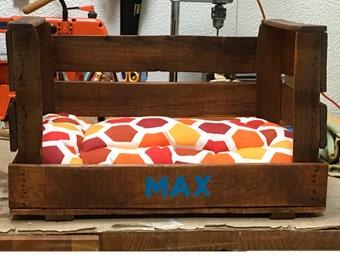 Bed pet, dog, wedge, Vintage pet bed pet wood, old fruit box,