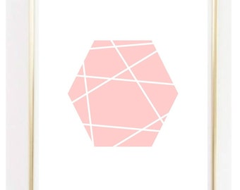 Light Pink Geometric Hexagon Geo Print