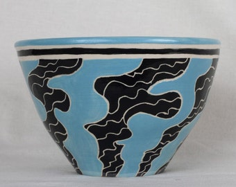 Bowl, ceramic bowl, gift, collectible, hand carved, sgraffito, handcrafted, handmade, wheel thrown