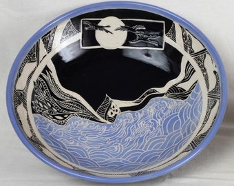 Large serving bowl, carved stoneware serving bowl, gift, herons flying across the moon, sgraffito,