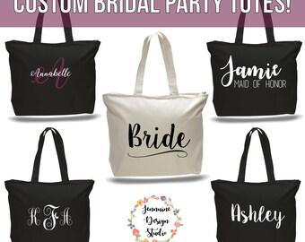 Custom Bridal Party Zippered Tote Bag Set