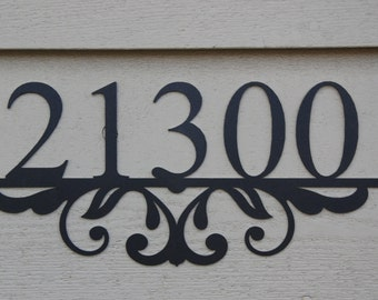 House Number Plaque with Flourish