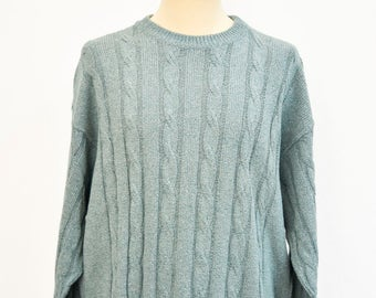 Vintage linen and cotton sweater pullover men man sweater Tiffany colour size 50IT