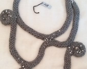 cotton, crochet necklace jewelry is tubular grey, silver beads, elegant necklace, necklace crochet, freeform grey and woven jewelry