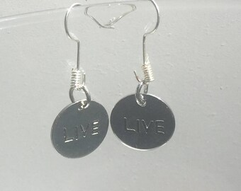 "Live Word Charm Earrings, 3 styles ""Me vs Me"", ""Live"", and ""It was then that I carried you"""