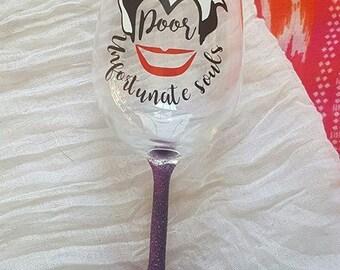 Disney Wine Glass, You Poor Unfortunate Soul, Ursula, The Little Mermaid