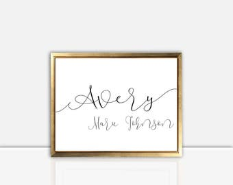 Name in Script | Cursive Name | Nursery Wall Art | Digital Download | Printable | Baby and Kids Room | Home Decor | Custom Colors | Poster |