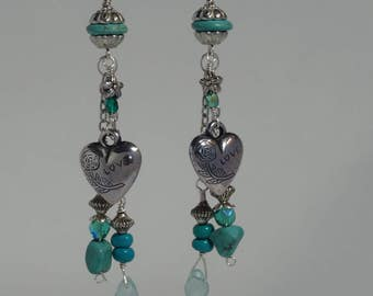 Great for Valentines Southwestern turquoise dangle earring with silver heart, baby blue quartz and Czech beads