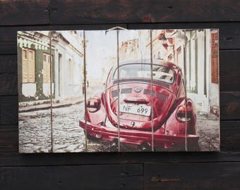 Volkswagen Beetle. Transfer on wood.