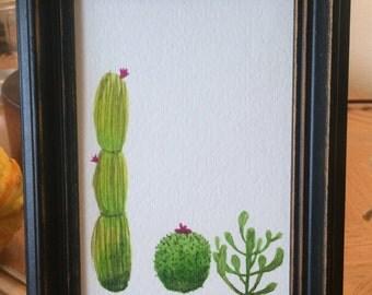 Mini Cacti // Original Watercolor Painting