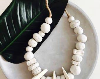 Handmade clay bead & cuttlefish bone tribal wall hanging decor necklace