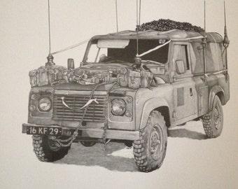 Limited Edition Pencil Print Land Rover Glosters 110 FFR
