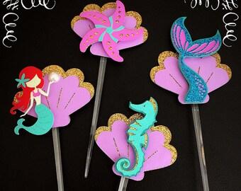 Mermaid Theme Cupcake Toppers, Mermaid Party, Birthday, 12 pc Set, Cupcake Picks