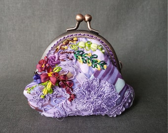 Crazy Kilt Embroidered Purple Coin Purse
