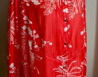 Vintage Red Crepe Floral Blouse