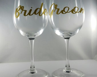 Bride and Groom wine glass, Bridal shower gift, wedding day wine glasses, engagement gift