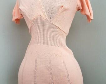 Woman's Vintage Peach Stretch Knit Thermal Slip Dress