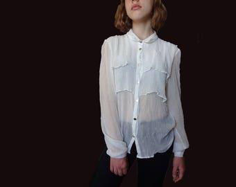 Silk white blouse THE KOOPLES, pure silk blouse, elegant buttoned up silk blouse, white silk shirt, silk clothes vintage white shirt XS S M