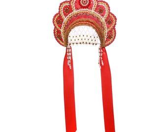 "Russian Traditional Folk Costume - Headdress Kokoshnik ""Elena"" red #405"