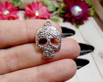4 Silver Plated Skull Charms - Sugar Skull Charms