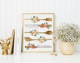 Kitchen Print-Kitchen Utensils Print-Wooden Utensils Print-Spoon-Peach Flowers-Succulents-Instant Download-Wall Art Decor-Printable Art