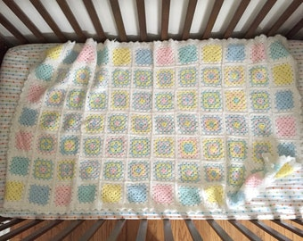 Pastel Granny Square Baby Blanket, granny square pastel accent throw, cozy granny square, vintage baby blanket, soft crochet baby blanket,