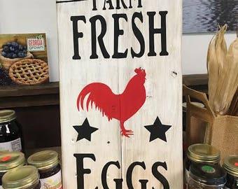 Handmade farm fresh eggs sign