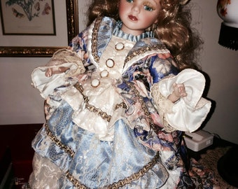 Victorian Doll - Blue and Peach Brocade