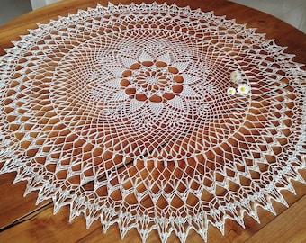 crochet doily, white tablecloth lace round doily, 100 % cotton home decor, lace round doily