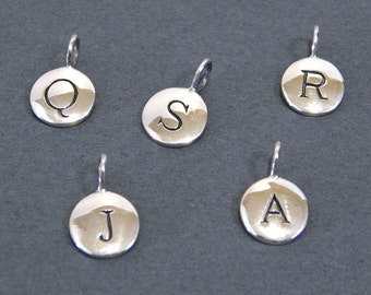 Stamped Letter Charm in Sterling Silver Add-on Alphabet Letter Disc Charm for your Necklace