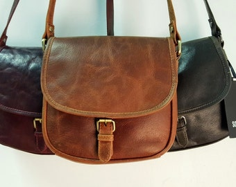 Leather Saddle Bag / Genuine Leather Saddle Cross-Body BARGANZA bag with Adjustable Arm Strap