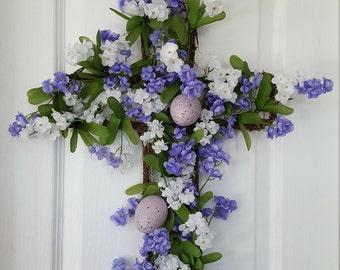 Easter Cross Wreath, Baptismal Cross, Memorial  Cross Wreath