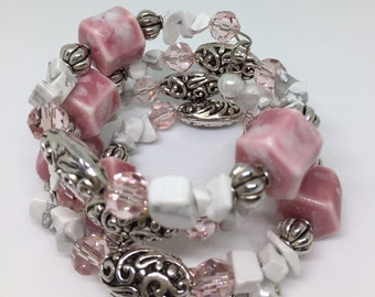 """Memory Wire Wrap Bracelet """"Pink-tastic"""" with Fancy Beads"""
