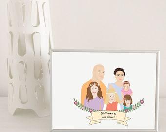Custom portrait illustration, family portrait illustration