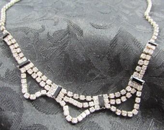 Vintage rhinestone and black onyx necklace