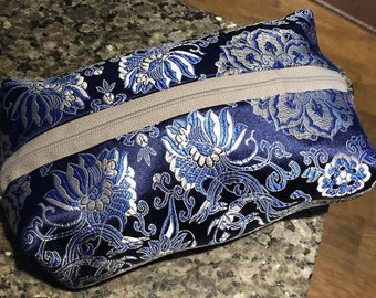 Blue Floral Cosmetic Bag