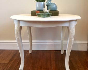 Cream side table, round table, side table wood, coffee table, upcycled table, painted table, country home decor, rustic table, hall table