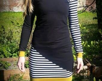 Striped long-sleeved dress for women, woman dress, mustard yellow, Gr.XS-XXL, figure-hugging, Lady dress with stripes, maritime