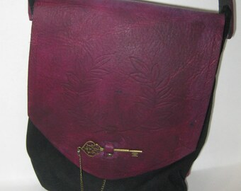Purple Victory Leather and Suede Crossbody Purse
