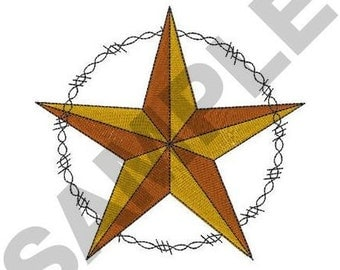 Western Star And Barbed Wire - Machine Embroidery Design
