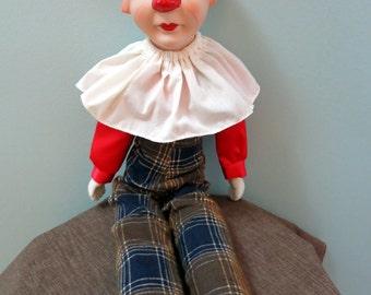 Vintage Porcelain Clown Doll, Clown Collectible, Porcelain Clown - V108