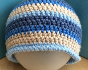 Boys hat, 3-5 Years hat, Crochet Beanie Hat, toddler hat, vegan toddler hat, vegan friendly hat, preschool hat, boys crochet hat, childs hat