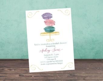 Bridal Shower Invitation, MACAROONS Bridal Shower Invitation, Shower Invite, Pink, Blue, Watercolor, Gold,  Stationary
